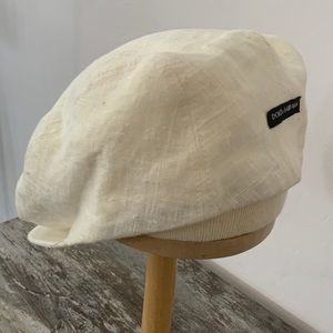 White linen paperboy hat